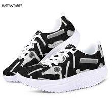 INSTANTARTS/женские черные туфли с объемным парикмахером/стилистом для волос; уличная женская обувь для фитнеса на платформе; кроссовки на танкетке