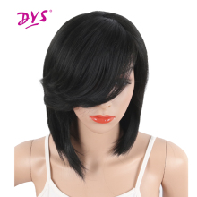 Deyngs Short Straight Synthetic Side Parting Bob Wigs With Bangs For Black Women Brazilian Hairstyle Natural Heat Resistant Hair недорого