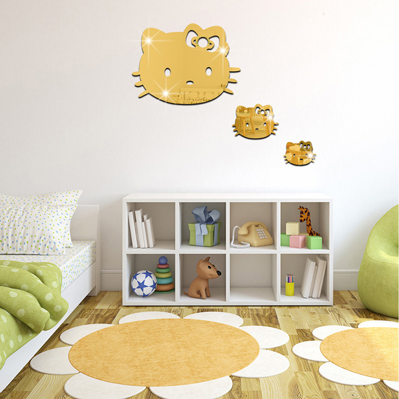 3 pcs/Set Cartoon Hello kitty Acrylic Mirror <font><b>stickers</b></font> <font><b>Children</b></font> rooms Home Background Cat Wall <font><b>Stickers</b></font> Decoration E1