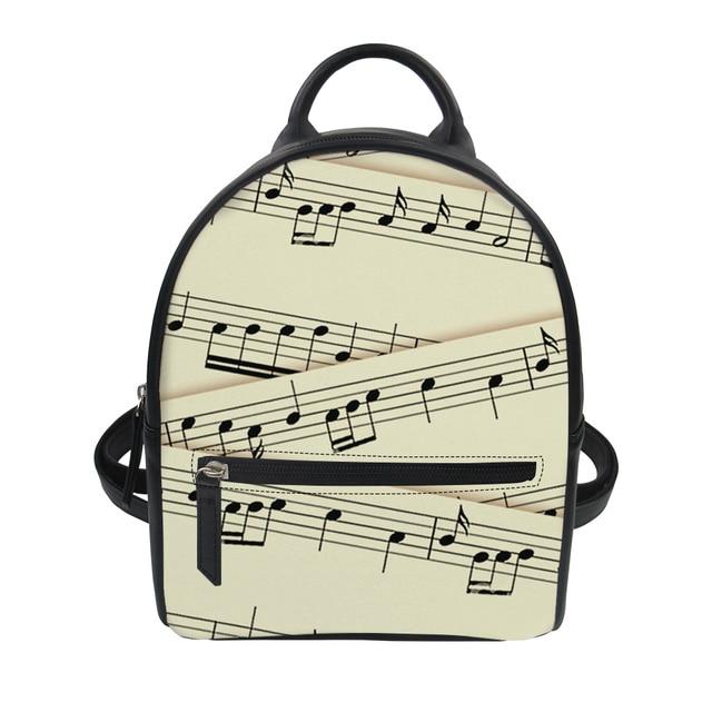 FORUDESIGNS Music line Printing Women Pu Leather Backpack for Teenage Kawaii  Girls Kids Small Backpacks Baobao 3c204adc07226