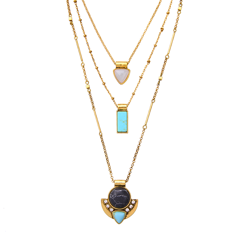 Online Shopping India Turquoise Necklace Gold Alloy Chains Brand Jewelry New Arrival Layered Necklaces & Pendants necklace