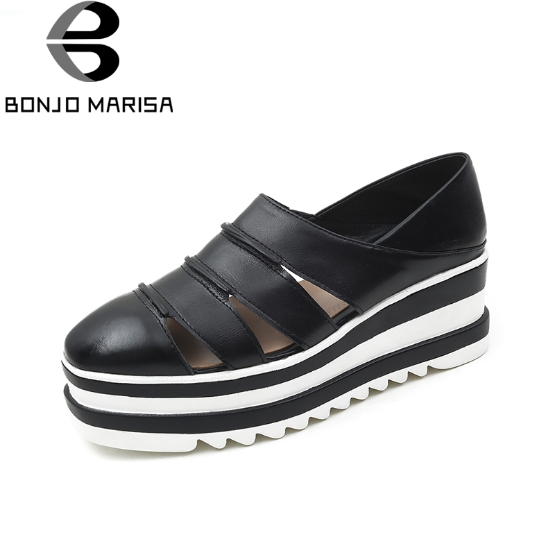 BONJOMARISA 2018 Summer Large Size 34-41 Cow Genuine Leather Woman Shoes Black Mix Color Leisure Flats Women Shoes ribetrini summer large size 34 40 cow genuine leather woman shoes mix color leisure flats women shoes sneakers