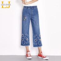 LEIJIJEANS 2018 Nieuwe Collectie Lente Plus Size Grafische Hollow Borduren Hoge Elastische Taille Enkellange Vrouwen Wijde Pijpen Jeans 5986