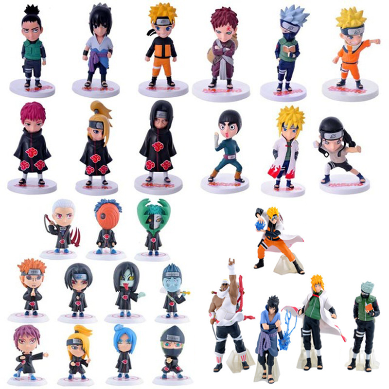 Anime Naruto PVC Action Figure Toys Q Version Naruto Figurine Full Set Model Collection Free Shipping