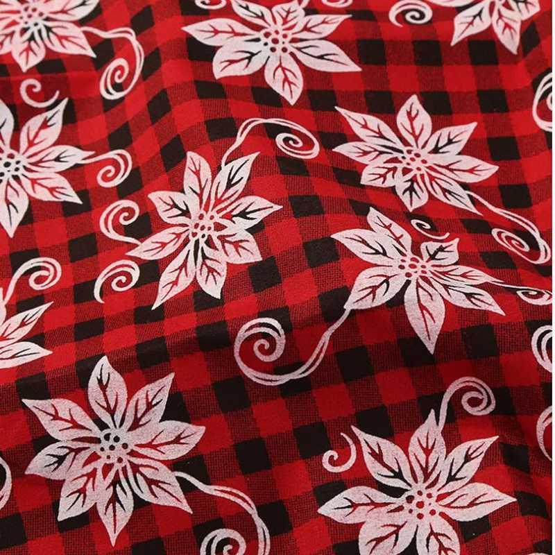 ورق حائط منقوش أحمر لعيد الميلاد مكون من 4 قطع من نسيج القطن والكتان المطبوع منسوجات الخياطة ذاتية الصنع طقم أريكة النسيج