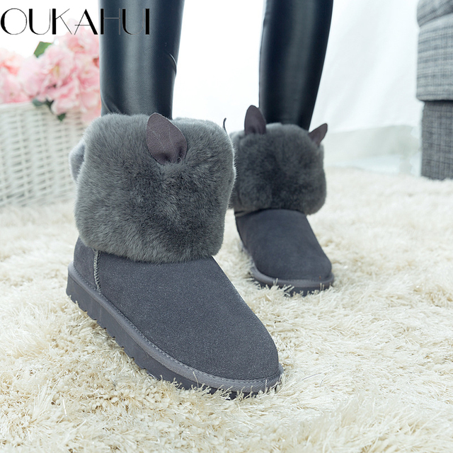 6e575595476f8 Autumn\Winter 2017 Fur Natural Rabbit Hair Snow Boots Woman Warm Flat Mid  Cow Suede Leather Rabbit Ears Short Boots For Women -in Mid-Calf Boots from  ...