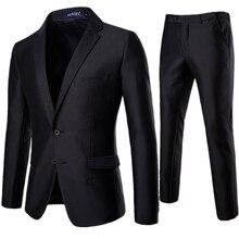 Black Men Blazer jacket & Pants Business Wedding Men Two-Piece set Asian Size S