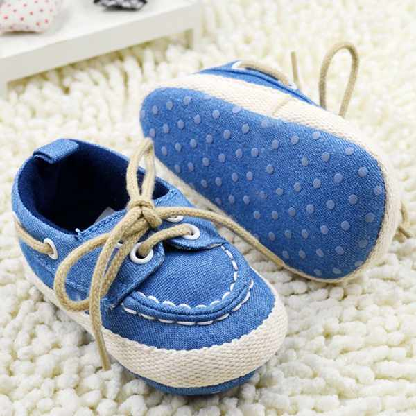 blue baby and toddler first walker boat shoes