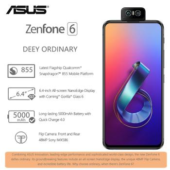 ASUS Global Version Zenfone 6 2019 ZS630KL Snapdragon 855 Flip Camera 4800MP  IMX586 5000mAh Battery Quick Charge 4.0