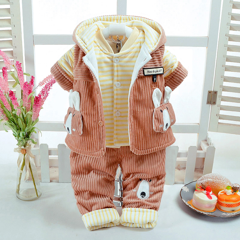 New Autumn Winter Baby Boy Clothing 0 6M Newborn Infant 3Pcs/Set Cute Rabbit Style Add Cotton Padded Thick Corduroy Pants Warm