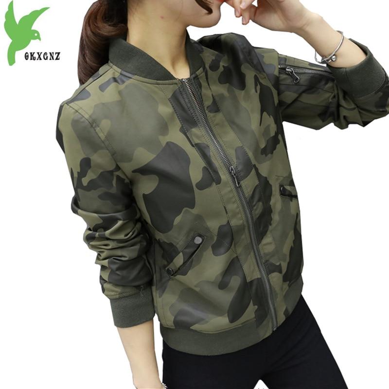New Short   Leather   Jacket Women Spring Autumn Camouflage Baseball clothing Fashion Loose Students PU   Leather   Outerwear OKXGNZ1077