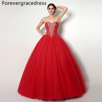 Forevergracedress Hot Sale Real Images Red Quinceanera Dress Sweetheart Long Beaded Backless Formal Party Gown Plus Size