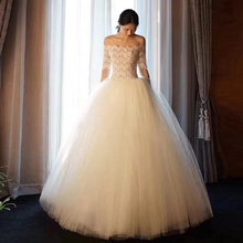White Ivory A Line Boat neck Netting Lace Applique Floor length Bridal Gown Wedding Dresses