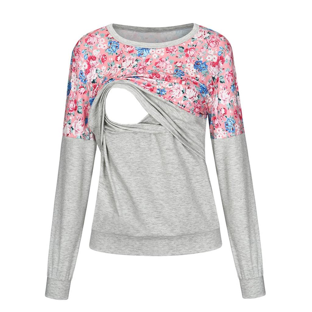 Women Maternity Pregnant Clothes Tees T-shirt Casual Flower Pregnancy Breast Feeding Tops Nursing Breastfeeding Blouse Shirt
