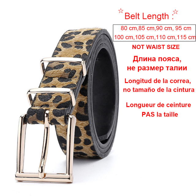 Female Belt Cummerbund Women Horsehair Belt With Leopard Pattern Rose Gold Metal Buckle Women Pu Belt Free Shipping 2
