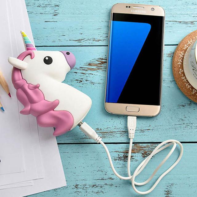 2600mAh Unicorn Cartoon Horse Power Bank Cute Emoji Back Up Charger For iPhone 7 6 6s plus 5s Samsung S7 S6 edge Xiaomi Sony LG