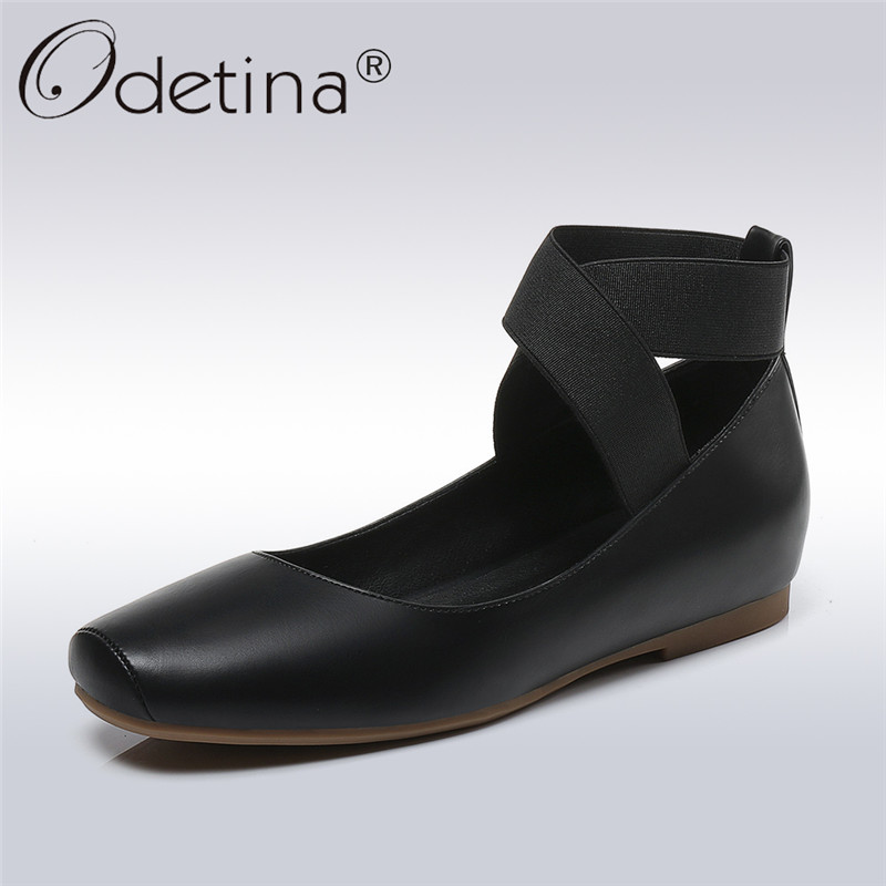 Odetina 2018 New Fashion Spring Ballet Flats For Women Elastic Band Cross Tied Casual Comfort Shoes Ladies Square Toe Flat Shoes odetina 2017 new designer lace up ballerina flats fashion women spring pointed toe shoes ladies cross straps soft flats non slip