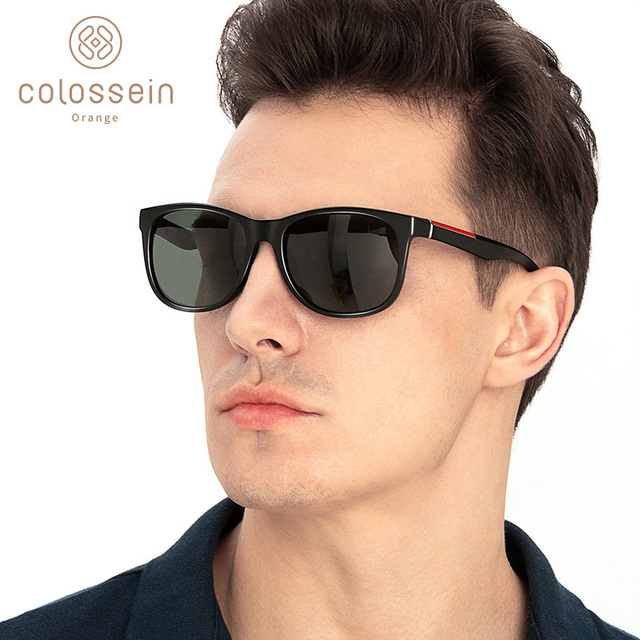 COLOSSEIN Female Sunglasses Men Polarized Classic TR90 Square Glasses Frame Men Sunglasses Vintage Driving Sun Glasses Eyewear