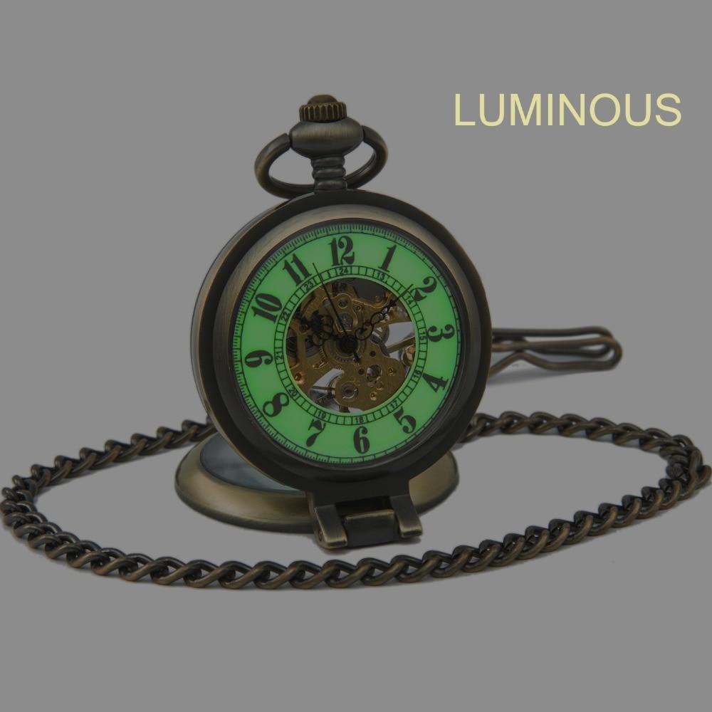 SEWOR Bronzo Antico di Lusso di Marca di Modo Vintage Retro Bronzo Luminoso Mostra Sport Meccanico Orologio Da Tasca Spedizione Gratuita C146