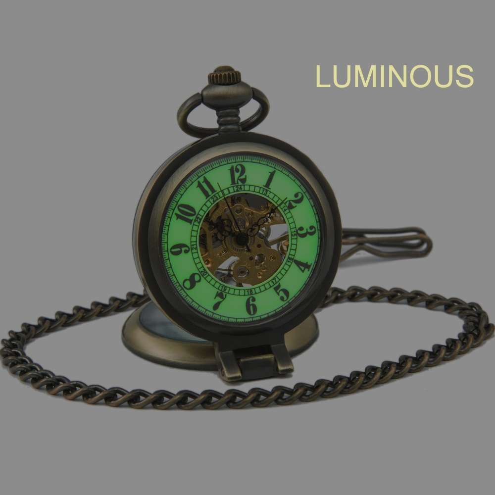 SEWOR Antique Bronze Luxury Brand Fashion Vintage Retro Bronze Luminous Show Mechanical Sport Pocket Watch Free Shipping C146