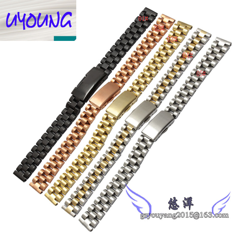 10mm 12mm 14mm 16mm New Men Ladies Silver Gold Stainless Steel Watch Band Strap Straight End Bracelet