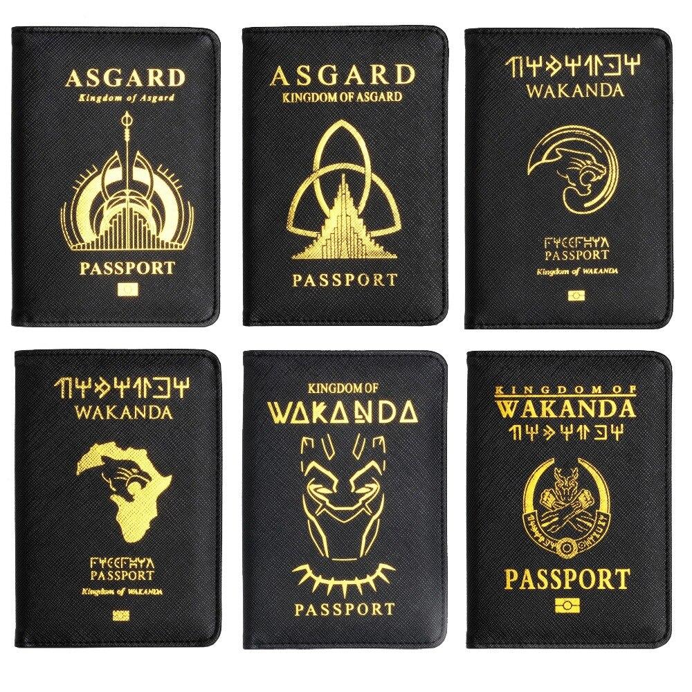 Trassory rfid bloqueando wakanda para sempre pantera preta asgard couro passaporte caso titular avengers hydra escudo da frota estelar
