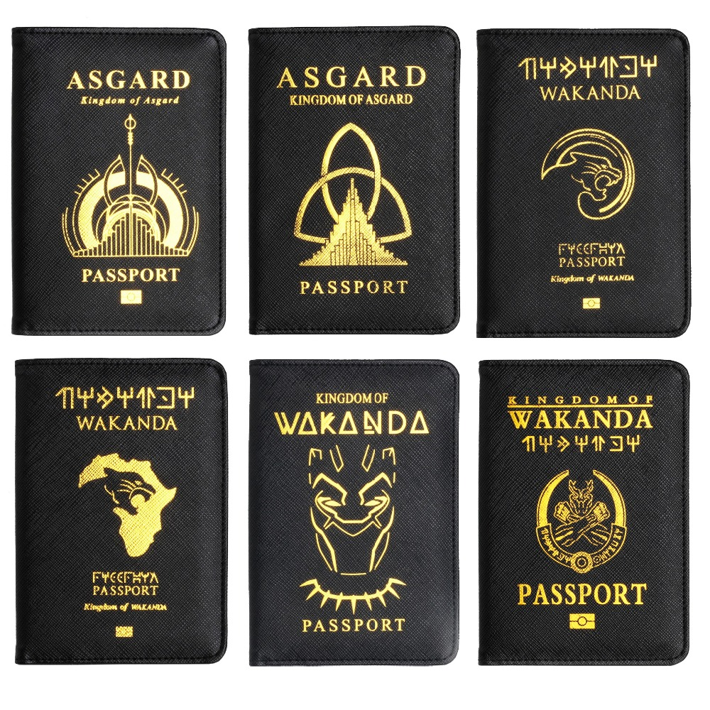TRASSORY RFID Blocking Wakanda Forever Black Panther ASGARD Leather Passport Holder Case with Multi Card and Ticket Slots