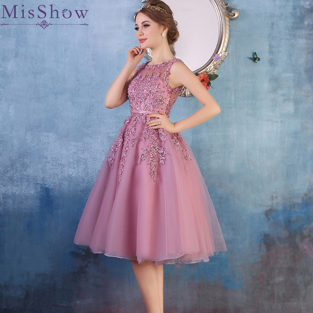 In stock 2019 A Line Short   Evening     Dresses   Dusty Pink Beaded Lace Appliques Robe De Doiree Courte Formal   Dress     Evening   Prom Gown