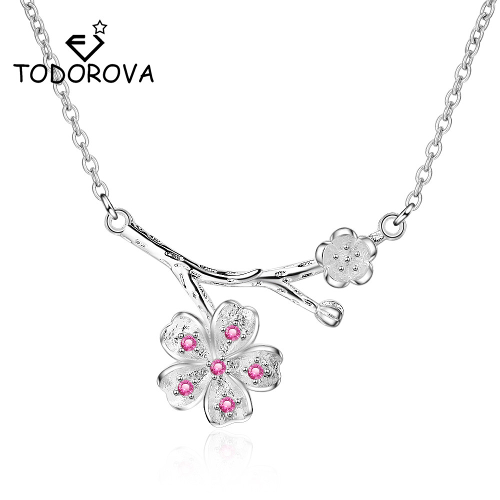 Todorova Korean Fashion Pink CZ Zircon Cherry Blossom Flower Pendants & Necklaces for Women Kolye Jewelry Accessories
