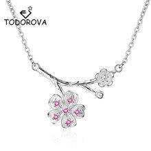 Todorova Korean Fashion Pink CZ Zircon Cherry Blossom Flower Pendants & Necklaces for Women Kolye Jewelry Accessories