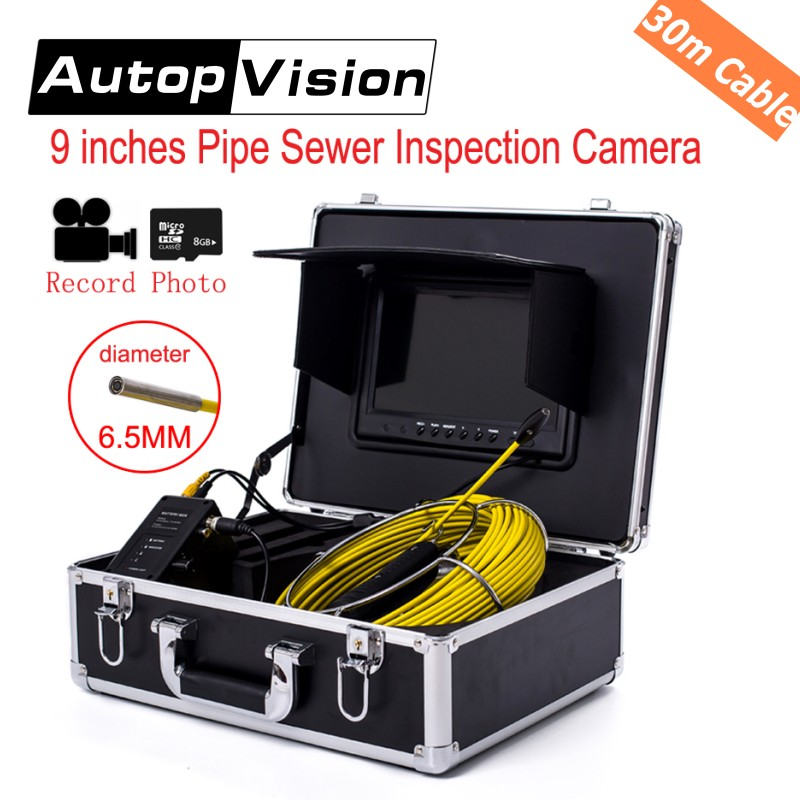 WP90 30M Sewer Pipe Inspection Snake Video Camera System 9''TFT LCD Waterproof Pipeline Endoscope BORESCOPE with DVR function wp71 30m cable industrial video snake endoscope borescope camera 7 lcd waterproof pipeline drain sewer inspection camera system