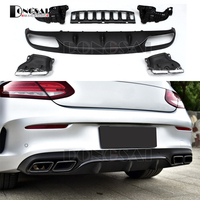 Mercedes W205 A205 C205 Rear Diffuser with 4 Outlet Exhaust Tips End Pipe For Mercedes W205 2 door model