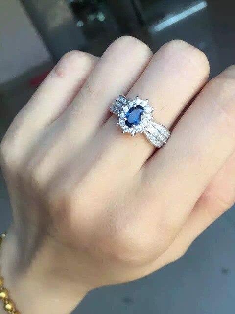Natural azul zafiro Anillo de plata de ley 925 Anillo de piedra Natural de la piedra preciosa Diana redonda de moda Elegante Joyería del partido de las mujeres