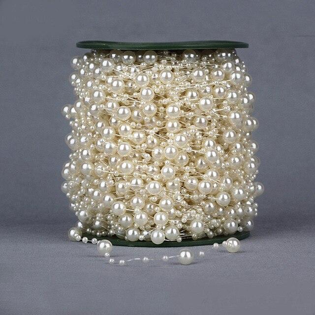 10FT/3 м белый/слоновая кость/розовый леска искусственный жемчуг бисер цепь Гирлянда для цветов DIY Свадебная вечеринка аксессуары