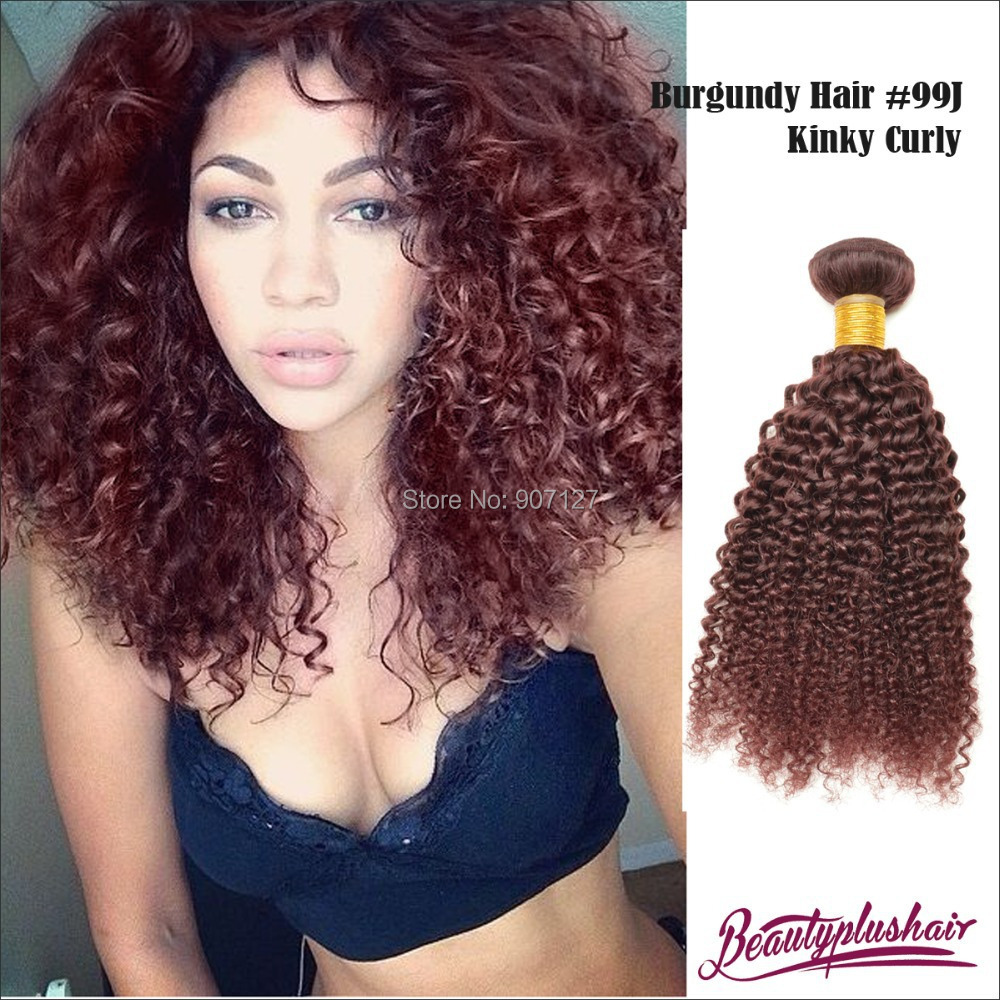 7a Red Brazilian Virgin Remy Hair 99j Kinky Curly Hair Extensions