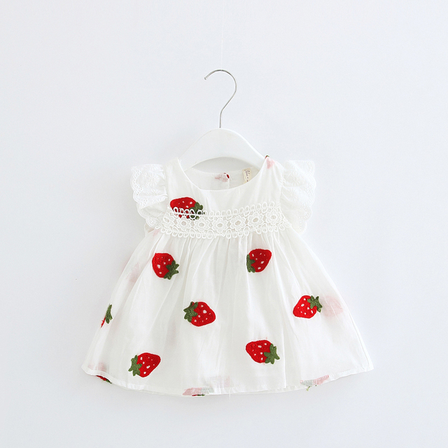 Baby girl Dresses Girls Infant Cotton Sleeveless Cute Dress Summer baby dress Strawberry Embroidery 0-2T