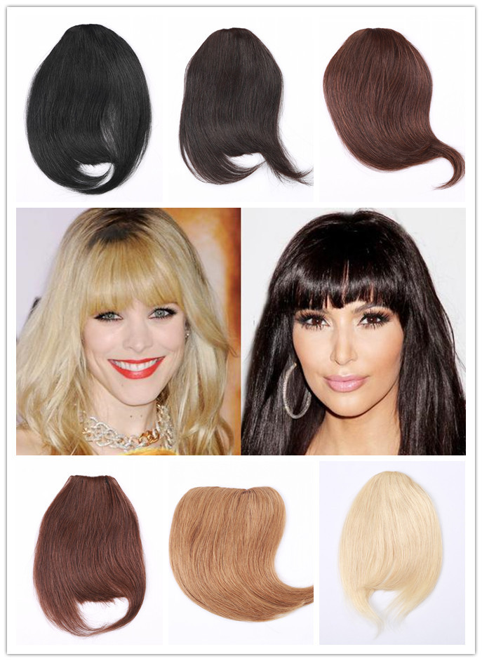 100 Real Human Remy Hair Clips In Extensions Straight Bangs Weave Extension Fringe Grade 6A Black Brown Blonde On Aliexpress