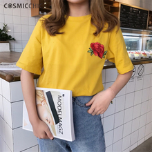 T-Shirts 2017 Summer Women T Shirt Cotton Casual Rose Embroidery Tops Solid Color Short Sleeve O-Neck Tees camiseta mujer MR111