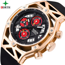 NORTH Quartz Brand Luxury Mens Watches Business Rubber Casual Military male wrist watch Sport Luminous Hands