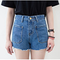 2017 Women summer Jeans New Ripped Cotton Jeans Harajuku Sanding Side Pocket Cut  Female Casual Denim High Waist Shorts