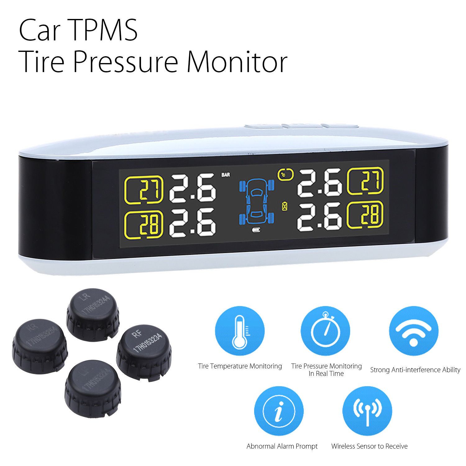 Car TPMS Tire Pressure Wireless Monitoring Temperature System PSI BAR USB Alarm 4 External Sensors Auto Tire Pressure Alarm LCD цены онлайн