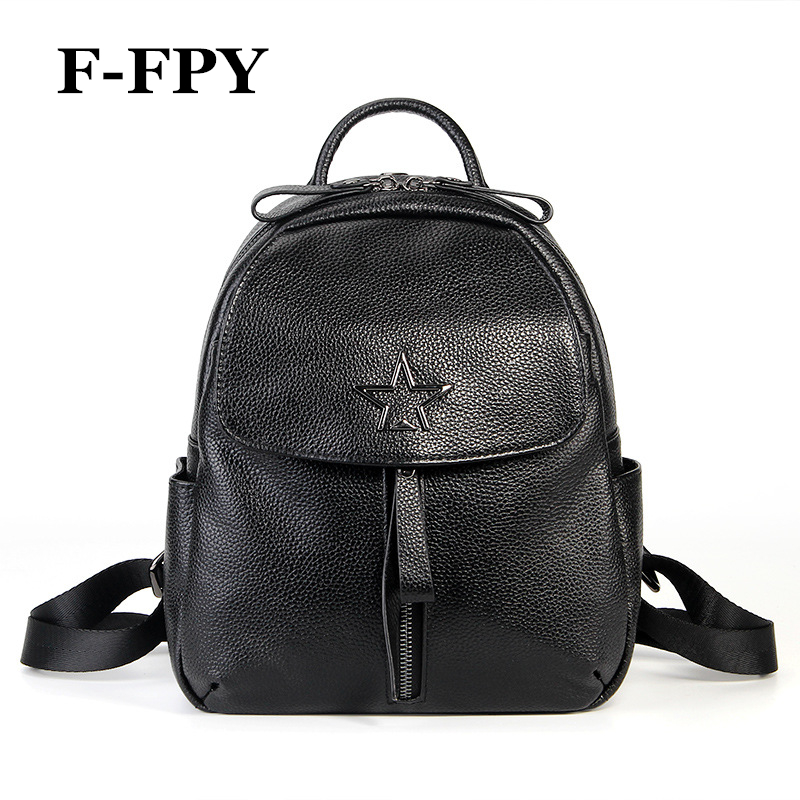 100% Real Soft Genuine Cowhide Leather Women Black Backpack Young Girls Students School Bag Fermale Casual Travel Shoulder bag100% Real Soft Genuine Cowhide Leather Women Black Backpack Young Girls Students School Bag Fermale Casual Travel Shoulder bag