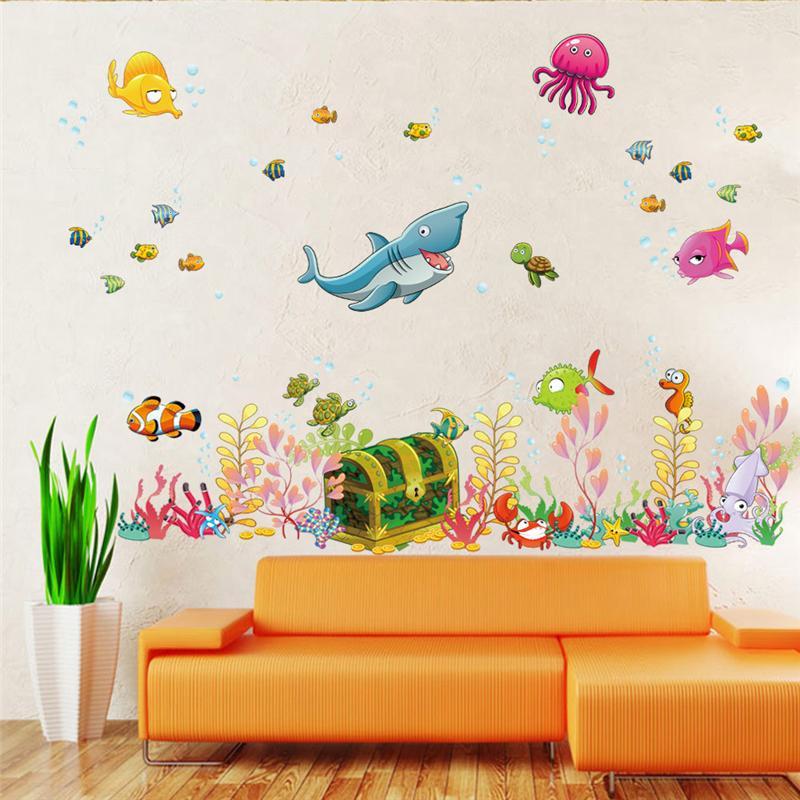 Deep sea world fish animales pegatinas de pared sala de arte mural niños zoológi