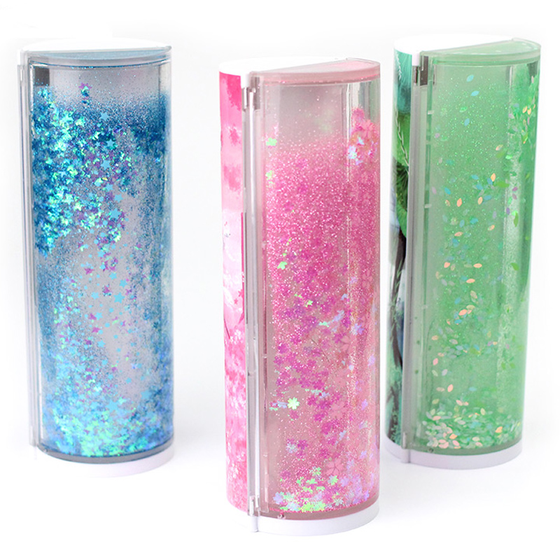 Image 5 - Quicksand Translucent Creative Multifunction Cylindrical Pencil Box Case 2019 school Stationery Pen Holder Pink Blue calculator-in Pencil Cases from Office & School Supplies