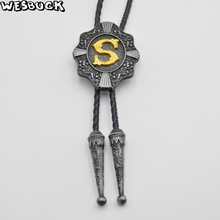 """Фотография Fashion Cowboy Male accessories Black Genuine Leather Bolo Tie for Men with Letter """"S-Z"""" Western Metal Buckle Custom Bolo Ties"""