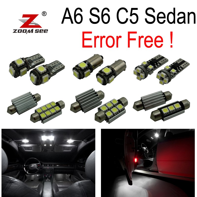 22pc X Perfect Canbus No Error LED Interior dome map Light Kit Package for Audi A6 S6 C5 Sedan ONLY (1998-2004) 15pc x 100% canbus led lamp interior map dome reading light kit package for audi a4 s4 b8 saloon sedan only 2009 2015