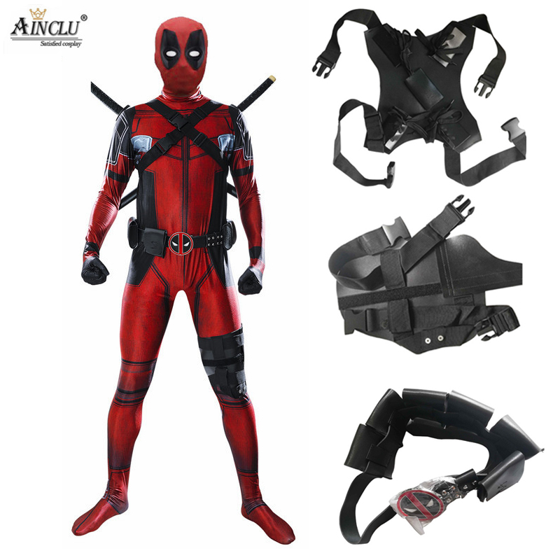 5pcs Adult Deadpool Costume With Mask Lycra Superhero Cosplay Suit Man One Piece Full Bodysuit Halloween Costumes For Party