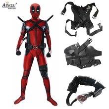 5 pcs Adulto Traje com Máscara Lycra Deadpool Superhero Cosplay Homem Terno  Trajes de Halloween para 63d7626c9928