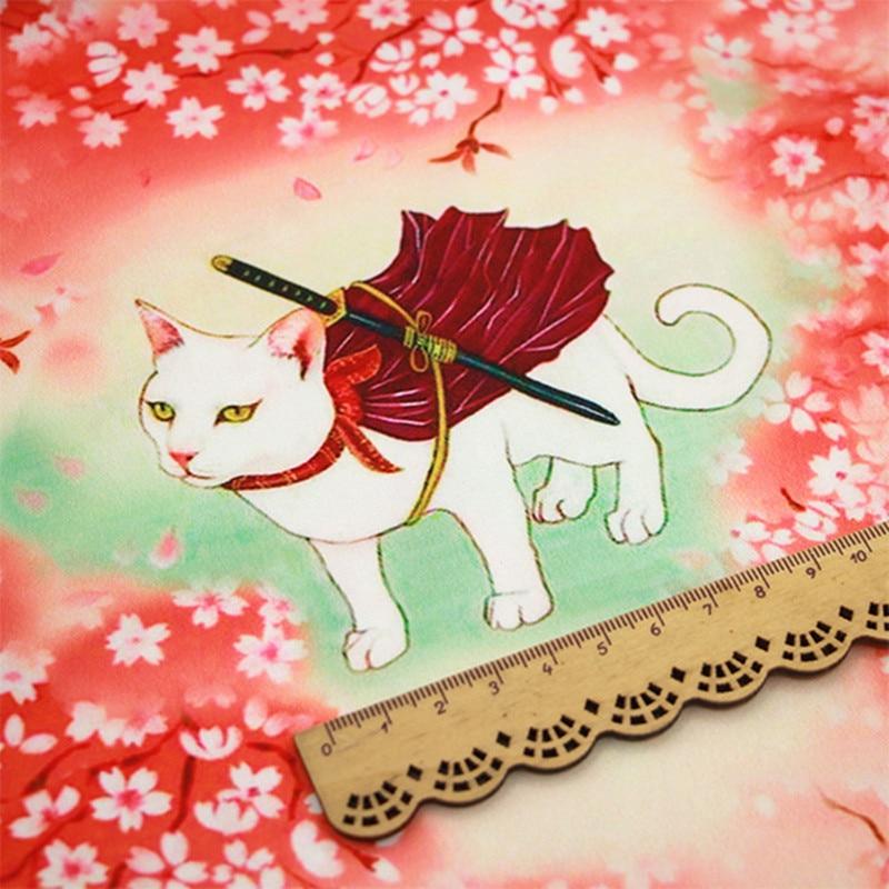 FYS52 tissu en soie Style japonais | Motif de chat, tissu pour accessoires de bricolage, foulards en soie, drap de lit oreiller écharpe, tissu pour rideau 1 mètre