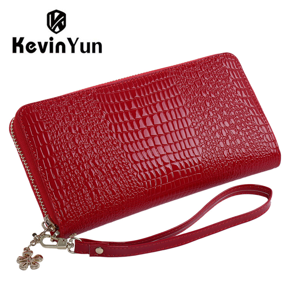 KEVIN YUN Designer Brand Fashion Patent Leather Women Wallets Long Lady Clutch Wallet Purse Zipper